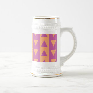 Triángulos y rayas púrpuras y anaranjados taza