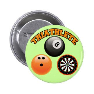 TRIATHLETE - BILLIARDS BOWLING DARTS 2 INCH ROUND BUTTON