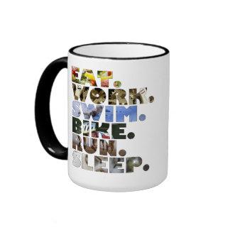 Triathlete Eat Work Swim Bike Run Sleep Daily Life Coffee Mug
