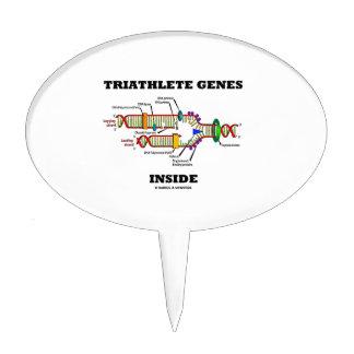 Triathlete Genes Inside (DNA Replication) Cake Topper