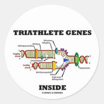 Triathlete Genes Inside (DNA Replication) Round Sticker
