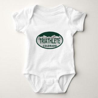 Triathlete license oval baby bodysuit