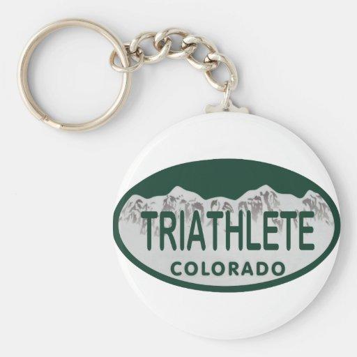 Triathlete license oval basic round button keychain
