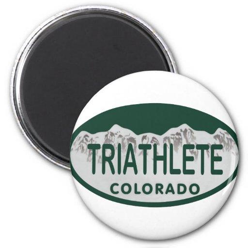 Triathlete license oval refrigerator magnet