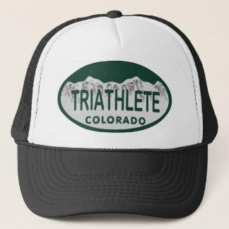 Triathlete license oval trucker hat