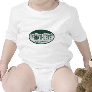 Triathlete license oval baby creeper