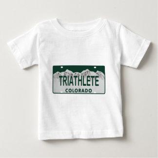 Triathlete license plate baby T-Shirt