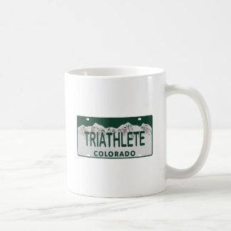 Triathlete license plate mugs