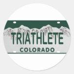 Triathlete license plate round sticker