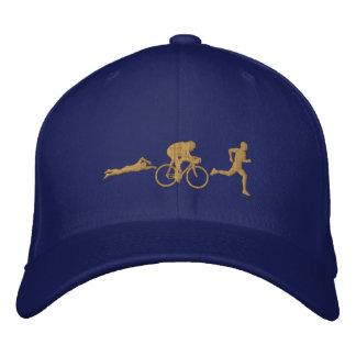 Triathlete Swim Cycle Run Triathlon Gold Embroidered Baseball Cap