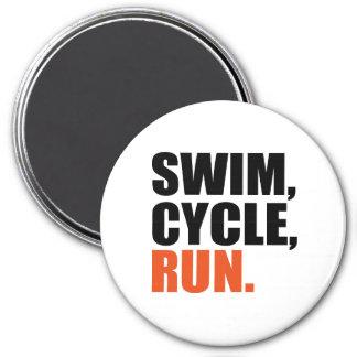 Triathlon 3 Inch Round Magnet