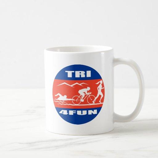 Triathlon athlete swim bike run race tri 4 fun classic white coffee mug