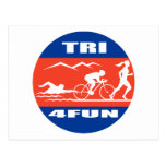 Triathlon athlete swim bike run race tri 4 fun post card