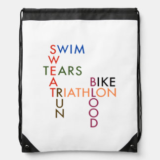Triathlon Blood Sweat and Tears Drawstring Backpack