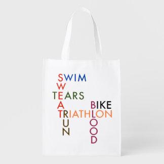 Triathlon Blood Sweat and Tears Grocery Bag