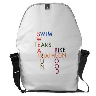 Triathlon Blood Sweat and Tears Messenger Bags