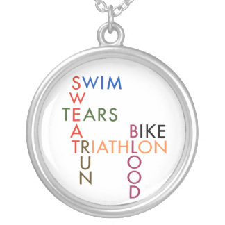 Triathlon blood sweat and tears round pendant necklace