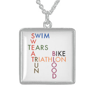 Triathlon blood sweat and tears square pendant necklace