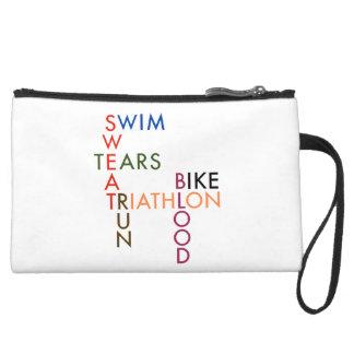 Triathlon Blood Sweat and Tears Suede Wristlet