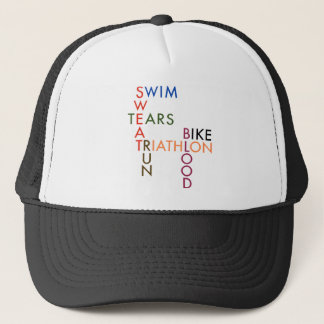 Triathlon Blood Sweat and Tears Trucker Hat