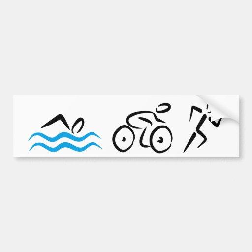 Triathlon Car Bumper Sticker