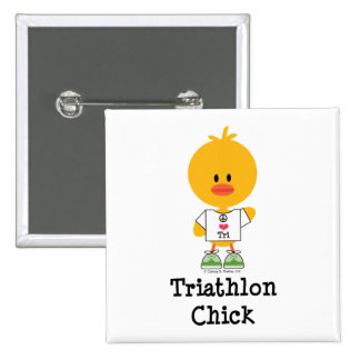 Triathlon Chick Button