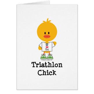 Triathlon Chick Greeting Card
