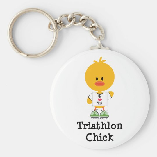 Triathlon Chick Keychain