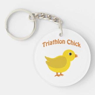 Triathlon Chick Keychain