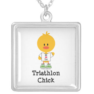 Triathlon Chick Sterling Silver Necklace