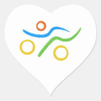 Triathlon cool and unique design heart sticker