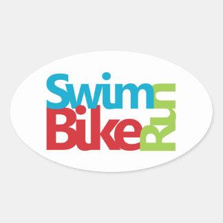 Triathlon cool and unique design oval sticker