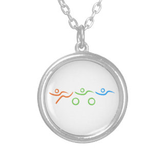 Triathlon cool and unique design silver plated necklace