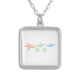 Triathlon cool and unique design square pendant necklace
