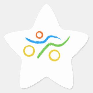 Triathlon cool and unique design star sticker