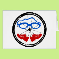 Triathlon cool artistic logo card