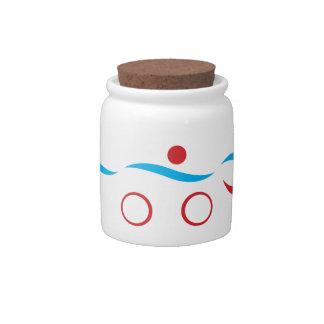 Triathlon cool logo illustration candy jar
