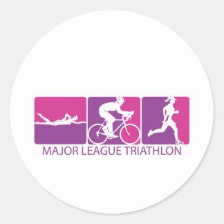Triathlon de la primera división etiqueta redonda