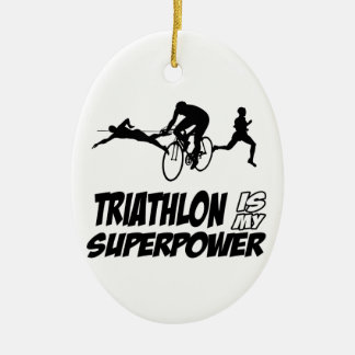 Triathlon designs Double-Sided oval ceramic christmas ornament