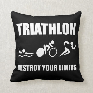 Triathlon Destroy Throw Pillow