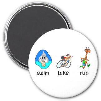 Triathlon divertido iman de nevera