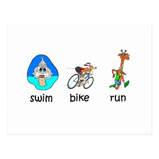 Triathlon divertido postal