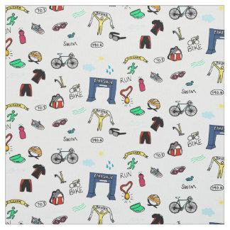 Triathlon Doodles Fabric