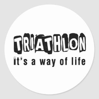 Triathlon es una manera de vida pegatina redonda