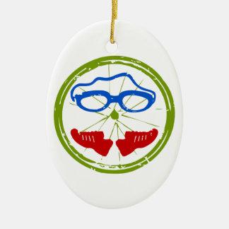 Triathlon Face Christmas Ornament