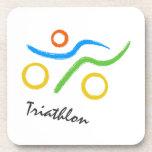 Triathlon logo beverage coasters
