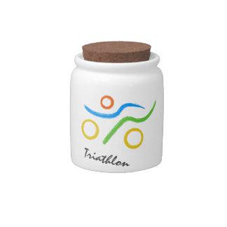 Triathlon logo candy jar