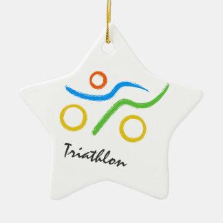 Triathlon logo ceramic ornament