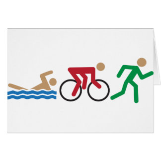 Triathlon logo icons in color greeting card