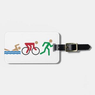 Triathlon logo icons in color luggage tag